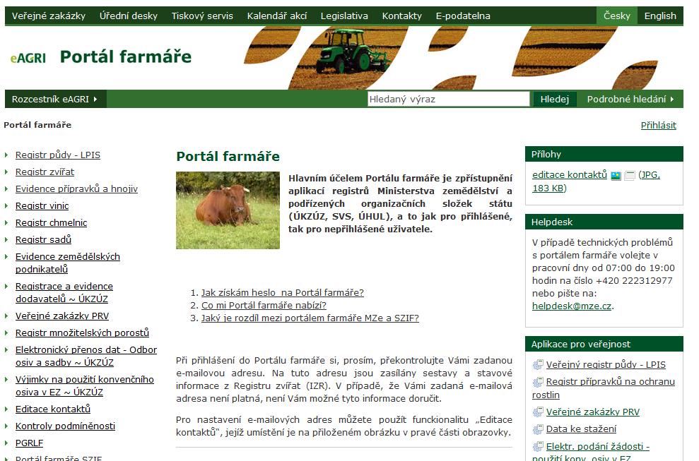 Důležité webové portály v zemědělství